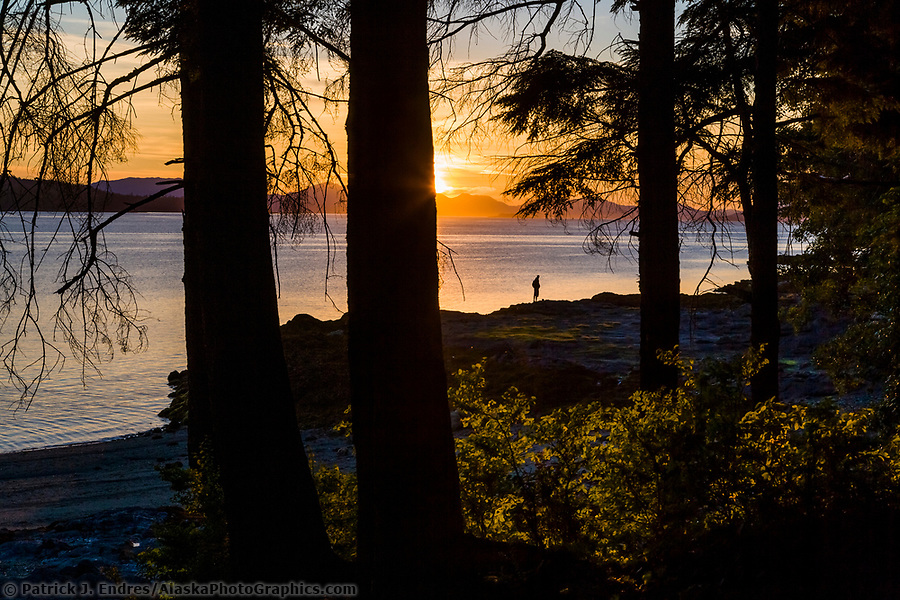 Sunset along the shore of Revillagigedo Island, near Ketchikan, southeast, Alaska. (Patrick J Endres / AlaskaPhotoGraphics.com)