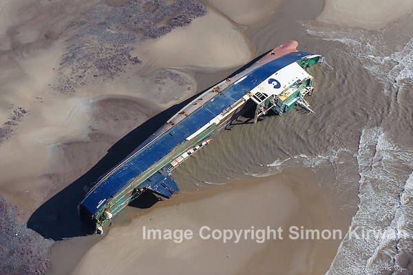 MS Riverdance Aground Blackpool Beach From the Air - Aerial Photography By Simon Kirwan