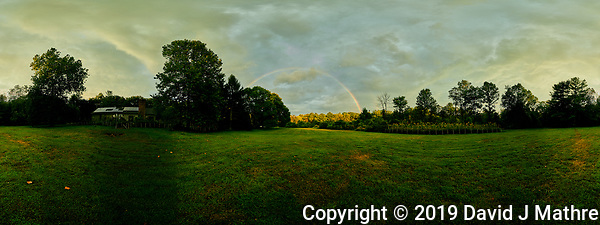 Rainbow. 360 Pano View. Composite of 46 images taken with a Nikon Df camera and 19 mm f/4 PC-E lens (ISO 100, 19 mm, f/8, 1/80 sec). Raw images processed with Capture One Pro and composite created using AutoPano Giga Pro. (DAVID J MATHRE)