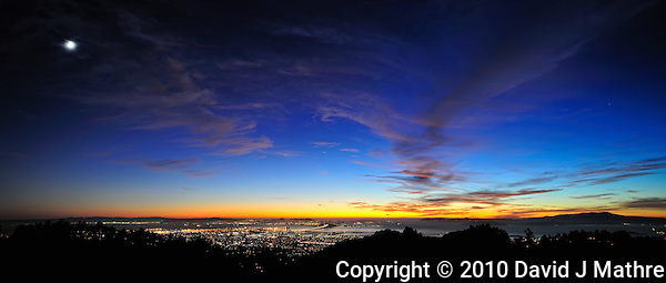 Sunset view of San Francisco and Oakland from the Berkeley Hills (David J Mathre)
