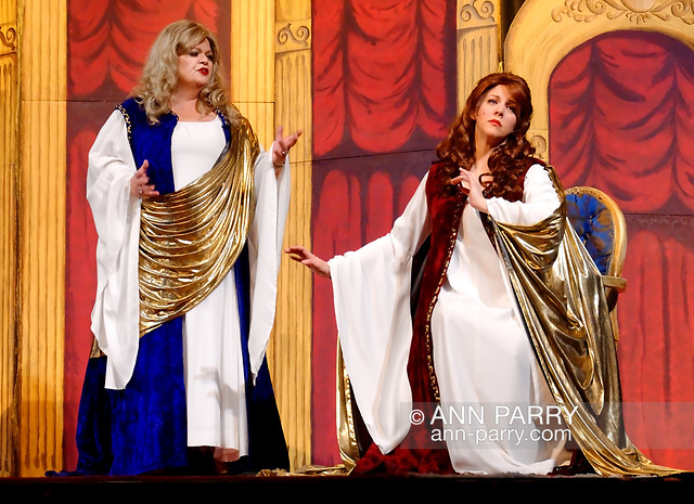 """""""Merrick, N.Y., U.S. February 21, 2010. Duelling Divas stars, sopranos BIRGIT FIORAVANTE and WENDY REYNOLDS - wear Roman cloaks while singing Mira, O Norma and Casta Diva from Bellini's Norma - in comic opera concert presented by Merrick Bellmore Community Concert Association. (© 2010 Ann Parry/AnnParry.com)"""