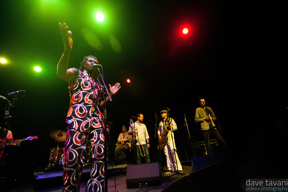 Amayo sings to the crowd during the Antibalas performance at Union Transfer in Philadelphia on December 13, 2012. (Dave Tavani)