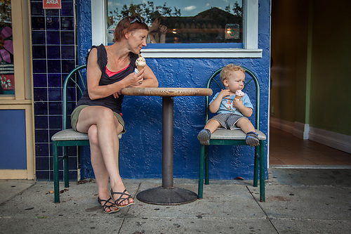 Cheryl Kerr and her son, Connor, at San Marco Ice Cream Shop in downtown Calistoga.  cherylkerr@me.com (© Clark James Mishler)