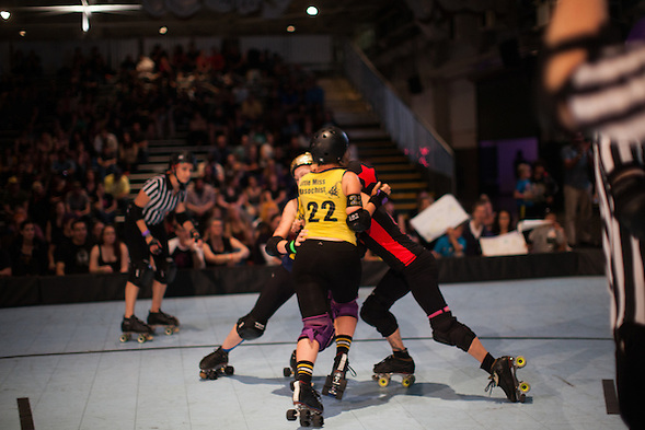 Richmond Wrecking Belles hosted the Oakland Outlaws in the 2015 season opener for both Bay Area Derby Girl teams at The Craneway Pavilion on Saturday March 14, 2015. Oakland won 131-127. (bryan farley)