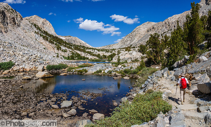 Hike to Piute Pass Trail via ponds and lakes in John Muir Wilderness, Inyo National Forest, Mono County, California, USA. (© Tom Dempsey / PhotoSeek.com)