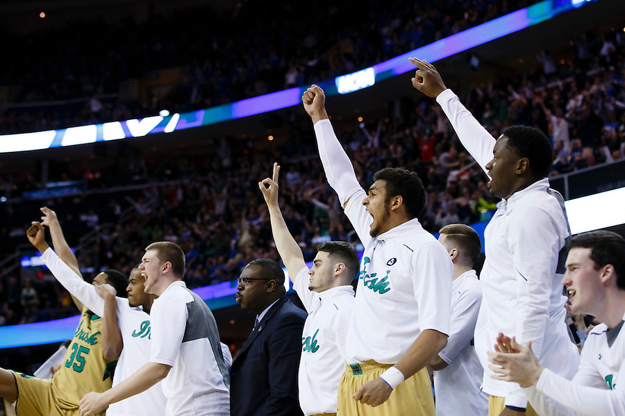 Mar 28, 2015; Cleveland, OH, USA; Notre Dame Fighting Irish players reacts to a basket against the Kentucky Wildcats in the finals of the midwest regional of the 2015 NCAA Tournament at Quicken Loans Arena. Mandatory Credit: Rick Osentoski-USA TODAY Sports (Rick Osentoski/Rick Osentoski-USA TODAY Sports)