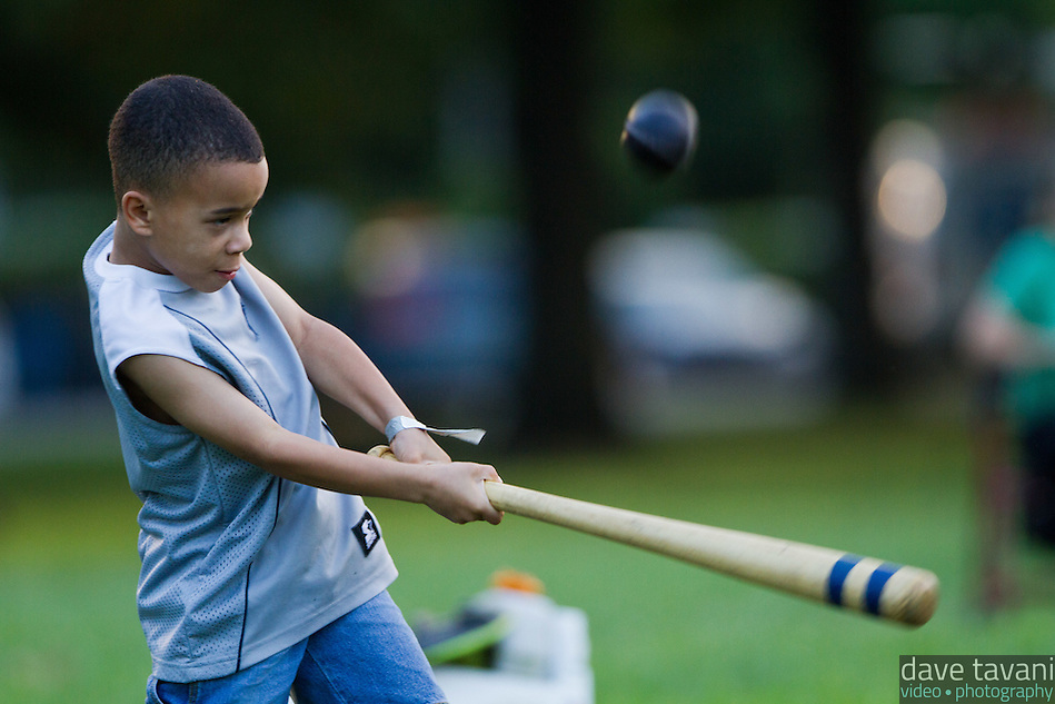 Tahir Parker of Philadelphia hits a ball during the demonstration game. (Dave Tavani)