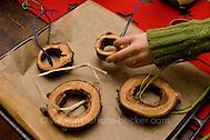 Vogelfutter selbst machen: Mischung aus Fett, Sonnenblumenkernen, Getreideflocken, getrockneten Wildbeeren wird in Holzringe gefüllt, Vogel-Futter, Fettfutter (Frank Hecker)