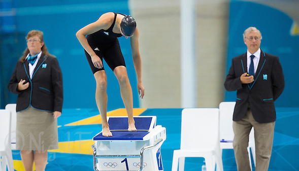 12 AUG 2012 - LONDON, GBR - 2008 Olympic gold medalist Lena Schoneborn (GER) (centre) of Germany prepares for the start of her women's London 2012 Olympic Games Modern Pentathlon swimming heat at the Aquatic Centre in the Olympic Park, in Stratford, London, Great Britain (PHOTO (C) 2012 NIGEL FARROW) (NIGEL FARROW/(C) 2012 NIGEL FARROW)