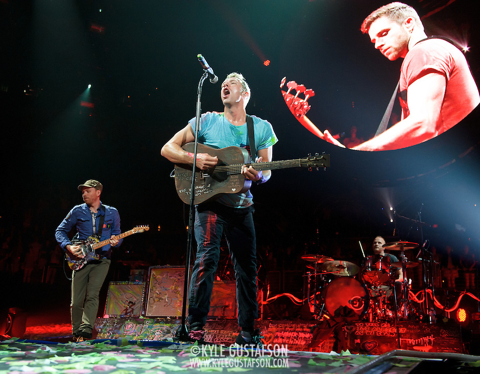WASHINGTON, DC - July 9th, 2012 - Coldplay perform as confetti cannons spray at the Verizon Center in Washington, D.C. The band's 2011 album, Mylo Xyloto, reached number one in thirty countries. (Photo by Kyle Gustafson/For The Washington Post) (Kyle Gustafson/For The Washington Post)