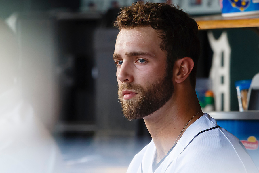 Aug 7, 2015; Detroit, MI, USA; Detroit Tigers starting pitcher Daniel Norris (44) sits in dugout in the first inning against the Boston Red Sox at Comerica Park. Mandatory Credit: Rick Osentoski-USA TODAY Sports (Rick Osentoski/Rick Osentoski-USA TODAY Sports)