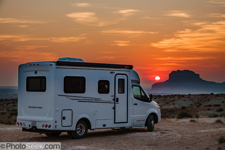 Pleasure-Way RV at sunrise near Little Wild Horse Canyon in San Rafael Swell Recreation Area, Utah, USA.  (© Tom Dempsey / PhotoSeek.com)