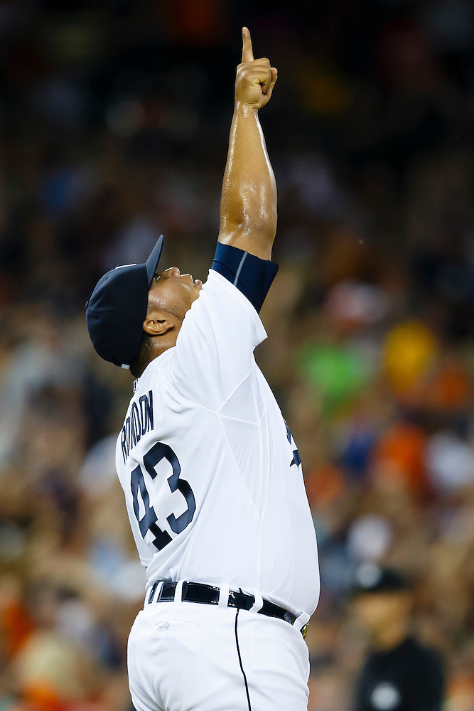 Aug 8, 2015; Detroit, MI, USA; Detroit Tigers relief pitcher Bruce Rondon (43) celebrate after the game against the Boston Red Sox at Comerica Park. Detroit won 7-6. Mandatory Credit: Rick Osentoski-USA TODAY Sports (Rick Osentoski/Rick Osentoski-USA TODAY Sports)