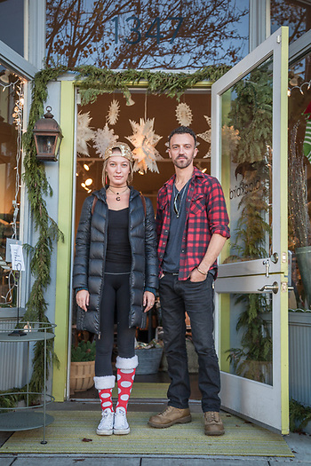 "Anna Morgan and Josh Beaman on Christmas Eve in front of Blackbird in downtown Calistoga  ""We remodel houses...we're currently working on our house...its our turn."" (Clark James Mishler)"