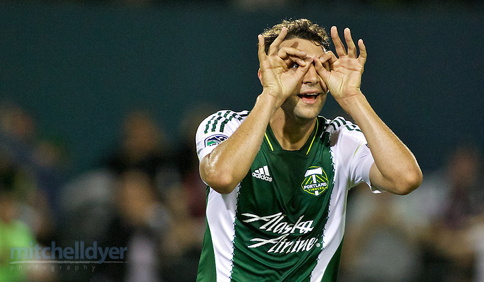 July 18, 2014; Portland, OR, USA; Portland Timbers midfielder Diego Valeri (8) reacts after scoring the game winning goal int he second half at Providence Park. Photo: Craig Mitchelldyer-Portland Timbers (Craig Mitchelldyer)