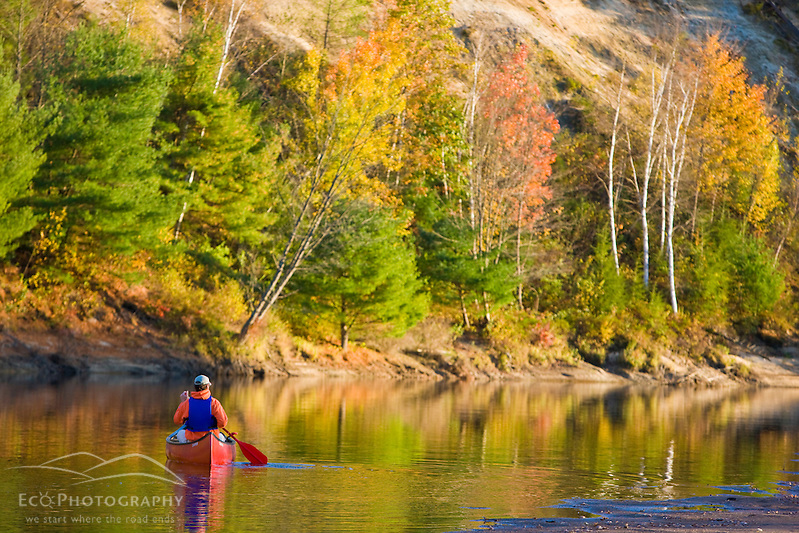 A man canoeing on the Merrimack River in Canterbury, New Hampshire. (Jerry and Marcy Monkman)