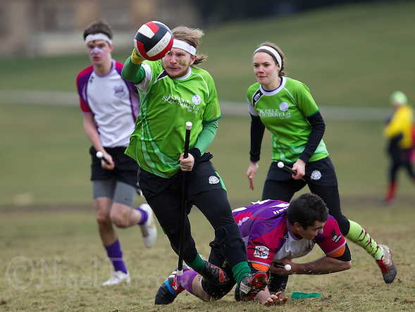 08 MAR 2015 - NOTTINGHAM, GBR - Benjamin Morton of Keele Squirrels evades a challenge during the 2015 British Quidditch Cup bronze medal match against Loughborough Longshots at Woollaton Hall and Deer Park in Nottingham, Great Britain (PHOTO COPYRIGHT © 2015 NIGEL FARROW, ALL RIGHTS RESERVED) (NIGEL FARROW/COPYRIGHT © 2015 NIGEL FARROW : www.nigelfarrow.com)