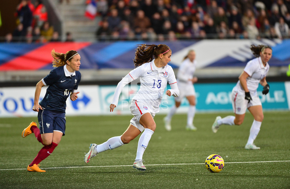 Lorient, France. - Sunday, February 8, 2015: Alex Morgan (13) of the USWNT. France defeated the USWNT 2-0 during an international friendly at the Stade du Moustoir. (isiphotos.com)