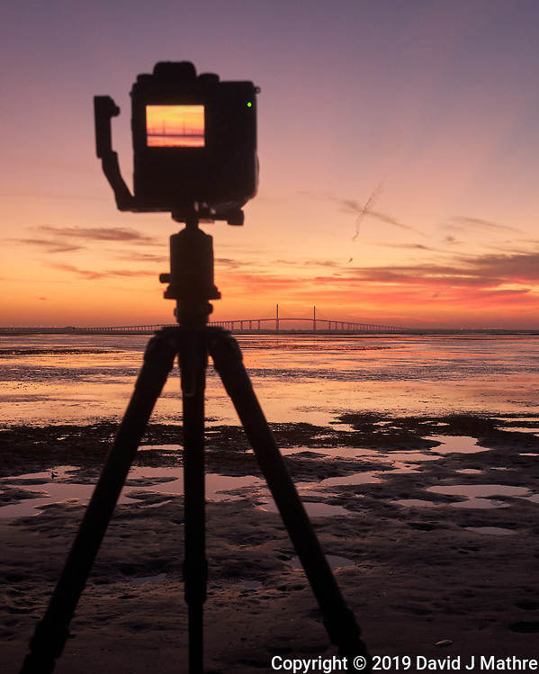 Fuji X-H1 camera set up to record the sun rising under the Sunshine Skyway bridge from Fort De Soto park in St. Petersburg, Florida. Image taken with a Leica CL camera and 23 mm f/2 lens (ISO 1000, 23 mm, f/5.6, 1/60 sec). (DAVID J MATHRE)