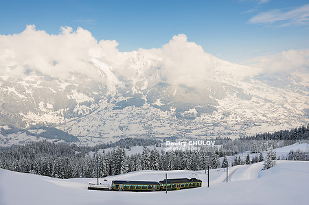 GRINDELWALD, SWITZERLAND - MARCH 07, 2009: View to the Wengernalpbahn railway train passing by the valley in Grindelwald, Switzerland. (Dmitry Chulov)