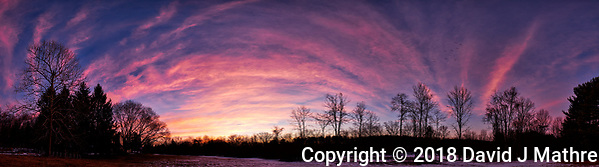 Dawn Morning Clouds. Winter Backyard Nature in New Jersey. Composite of 11 images taken with a Fuji X-T1 camera and 16 mm f/1.4 lens (ISO 200, 16 mm, f/5.6, 1/30 sec). Raw images processed with Capture One Pro and the composite generated with AutoPano Giga Pro. (David J Mathre)