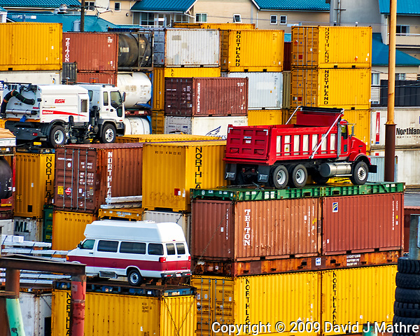 These shipping containers and vehicles are real, not toys. Ketchikan Harbor. Image taken with a Nikon D300 camera and 18-200 mm VR lens (ISO 200, 200 mm, f/6.3, 1/160 sec). (David J Mathre)