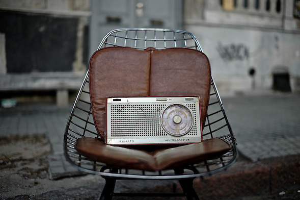 Llamadas 2011 in Isla de Flores.  Montevideo, Uruguay, A nostalgic 50-year old Phillips transistor radio sits in his throne in the streets of Montevideo, remembering the day it broadcasted the man landing on the moon. (Martin Herrera Soler)