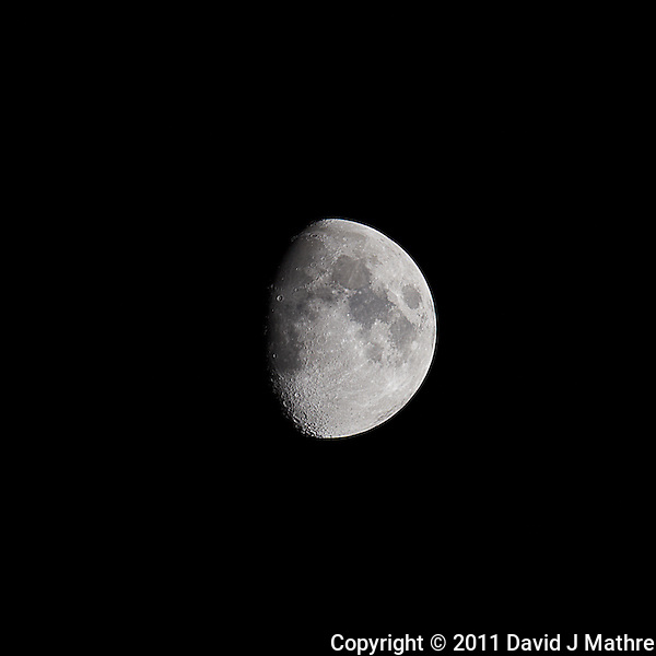 Waxing Gibbous Moon (75%). Autumn Night in New Jersey. Image taken with a Nikon D3s and 600 mm f/4 VR lens. (ISO 200, 600 mm, f/5.6, 1/400 sec). (David J Mathre)