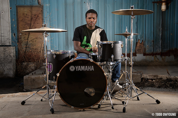 Drummer DJ Swanson photographed in St. Louis, Missouri on February 17, 2011 by music photographer Todd Owyoung (© Todd Owyoung)