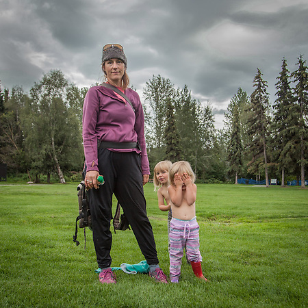 Intensive care nurse Karen Loso with her daughter Ruby and niece Mae at the Valley of the Moon Park, Anchorage.  karenbemben@yahoo.com (© Clark James Mishler)