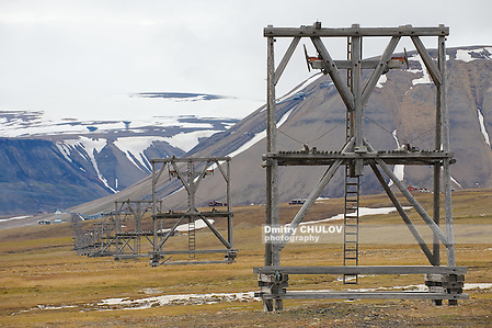 View to the abandoned arctic coal mine equipment in Longyearbyen, Norway. This unique equipment was used for coal transportation from mines to the sea port using gravitation force only. (Dmitry Chulov)