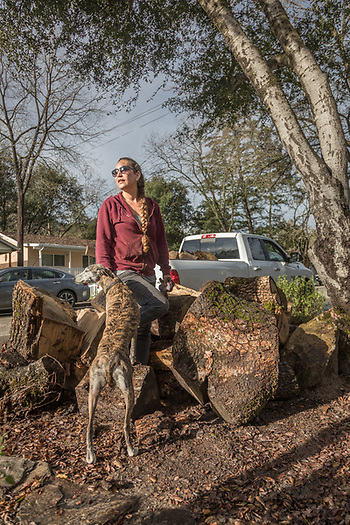 Middletown resident and 22 year employee at the Sarafornia Cafe in Calistoga Paula Chaves with her rescued whipett gathers firewood from downed trees on Myrtle Street. (Clark James Mishler)