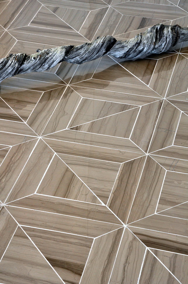 Truman stone waterjet mosaic field shown in Driftwood polished. (Picasa)