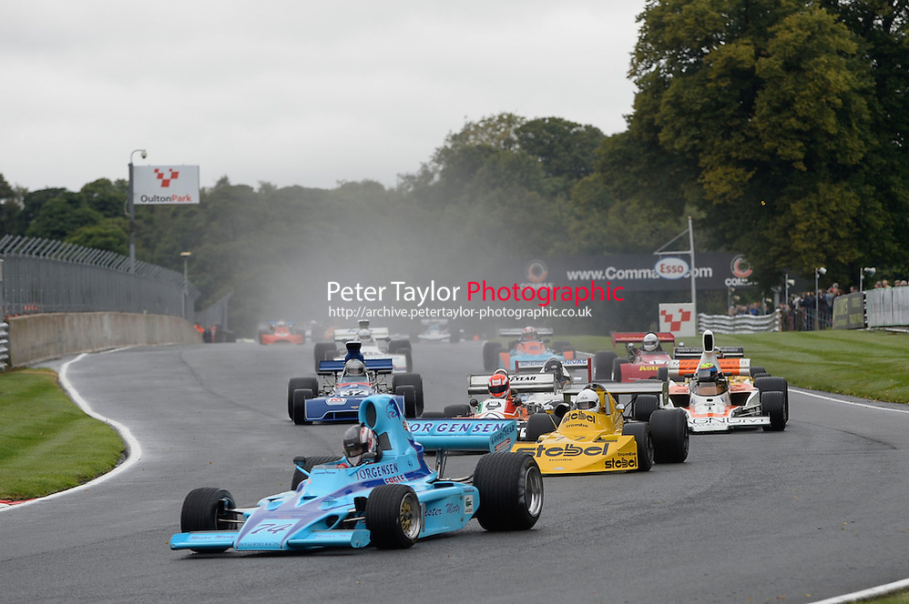 #74 Michael Lyons, Gurney Eagle FA74 leads the field at the start of the Race 13 Derek Bell Trophy (Historic F5000 and F2 Cars) at Oulton Park, Little Budworth, Cheshire, United Kingdom. August 25 2014. World Copyright Peter Taylor. Copy of publication required for printed pictures. Every used picture is fee-liable. http://archive.petertaylor-photographic.co.uk (Peter Taylor)