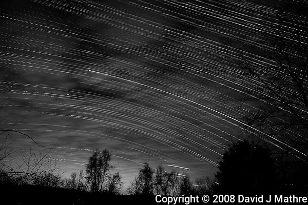 Star, Moon, and Jet Trails + Clouds. Backyard Night Sky Over New Jersey Looking South. Composite of 279 images taken with a Nikon D3x camera and 24-70 mm f/2.8 lens (ISO 200, 24 mm, f/2.8, 20 sec) (David J Mathre)
