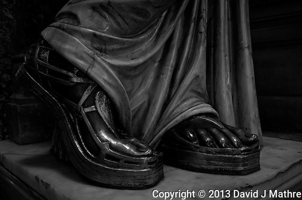 Bronze Statue Feet, Stairway at the Paris Opera House. Image taken with a Leica X2 camera (ISO 800, 24 mm, f/2.8, 1/30 sec). In camera conversion to B&W. (Photographer)