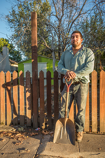 Landscaper Juan Hernandez stands with his crew, Ruben and Jaime, after a day's work cleaning up a property on Lake Street in Calistoga. (Clark James Mishler)