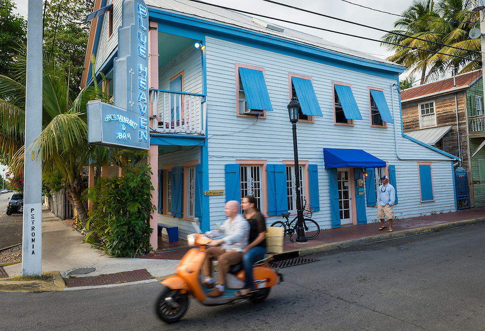 KEY WEST, FL - CIRCA 2012: Facade of Blue Heaven Cafe  a landmark in Key West circa 2012. The tropical city is a popular tourist destination with over 2 million yearly visitors. (Daniel Korzeniewski)