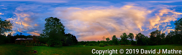 Backyard 360 Panorama View of an Evening Rainbow. After the Thunderstorm. Composite of 46 images taken with a Nikon D810a camera and 8-15 mm fisheye lens (ISO 200, 8 mm, f/8, 1/200 sec). Raw images processed with Capture One Pro and AutoPano Giga. (DAVID J MATHRE)