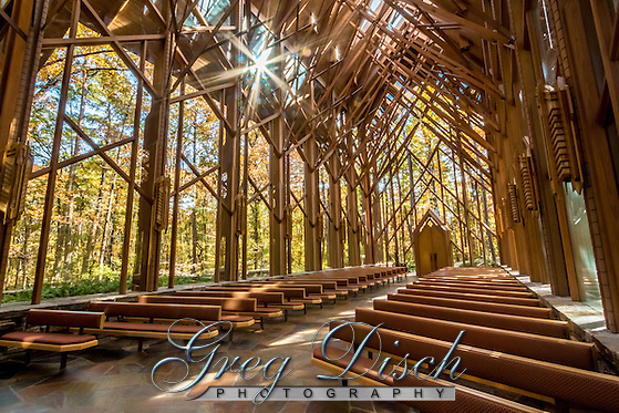 Anthony Chapel with its floor-to-ceiling glass walls presenting picturesque views of the surrounding woodlands The simple, yet stately, six-story tall structure is considered one of the most beautiful wedding venues in the state of Arkansas. Anthony Chapel is located at Garvan Woodland Gardens in Hot Springs Arkansas. (Greg Disch gdisch@gregdisch.com)