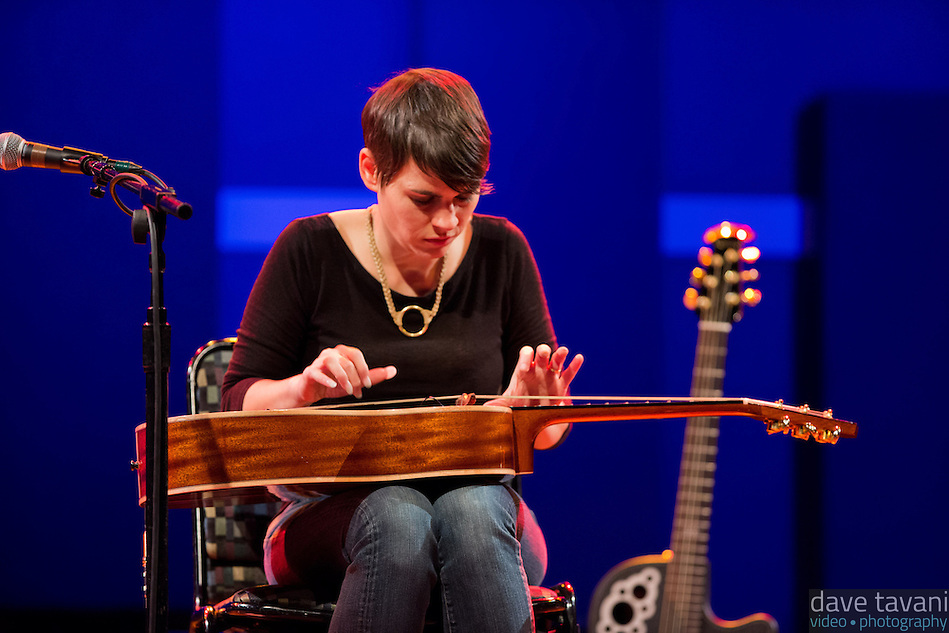 """Kaki King performs at World Cafe Live. Here she plays a """"Koto guitar"""" on the song """"Bowen Island."""" (Dave Tavani)"""