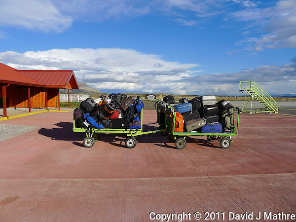 Luggage Carts Outside the Puerto Natales Regional Airport Terminal. Snapshot taken with a Leica D-Lux 5 camera (ISO 80, 5.1 mm, f/4, 1/800 sec). (David J Mathre)