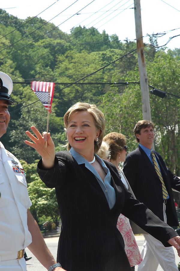Chappaqua, NY, May 28: Hillary Clinton waves to the crowd during the Memorial Day parade in her hometown of Chappaqua, New York. Hillary Rodham Clinton was a United States Senator at the time (2006) and was Grand Marshall of the parade. (Marianne A. Campolongo/Copyright Š Marianne A. Campolongo)