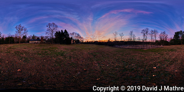 Autumn Dawn Clouds. Panorama 360 View. Composite of 41 mage taken with a Nikon D850 camera and 8-15 mm fisheye lens (ISO 100, 15 mm, f/5, 1/30 sec). Raw images processed with Capture One Pro and Autopano Giga Pro. (DAVID J MATHRE)