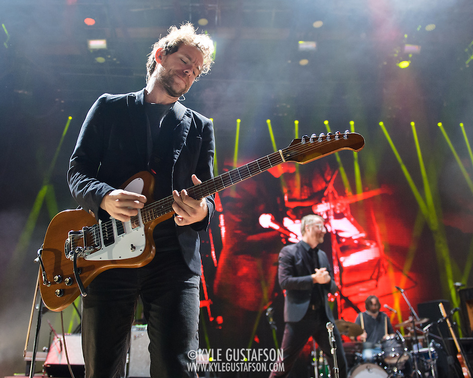 COLUMBIA, MD - June 6th,  2013 -   Bryce Dessner and Matt Berninger of The National perform on a rainy night at Merriweather Post Pavilion in Columbia, MD.  The band just released their sixth studio album, Trouble Will Find Me, which debuted at No. 3 on both the US and UK album charts. (Photo by Kyle Gustafson/For The Washington Post) (Kyle Gustafson/FTWP)