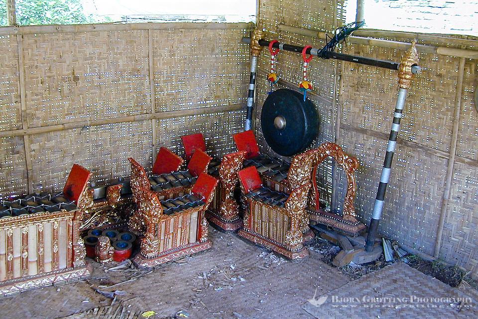 Bali, Gianyar, Goa Gajah. Gamelan music instruments. (Photo Bjorn Grotting)