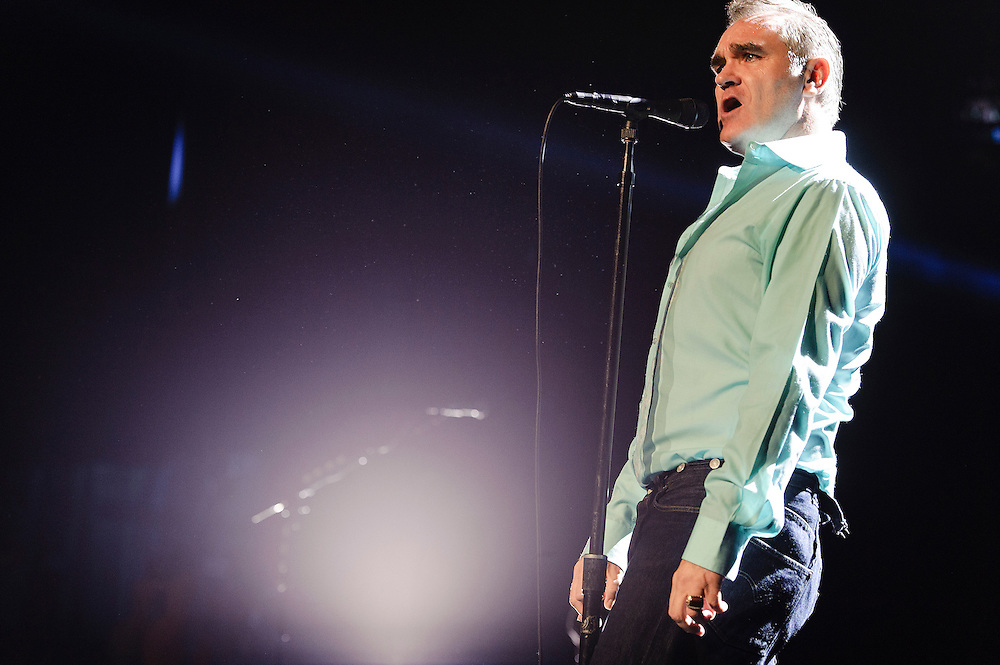 Photos of the British singer Morrissey performing live at Radio City Music Hall, NYC. October 10, 2012. Copyright © 2012 Matthew Eisman. All Rights Reserved. (Photo by Matthew Eisman/WireImage)