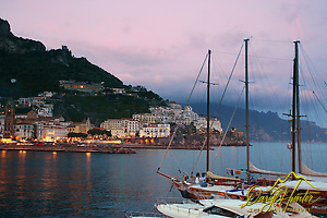Sunset, sailboat, Amalfi Harbor