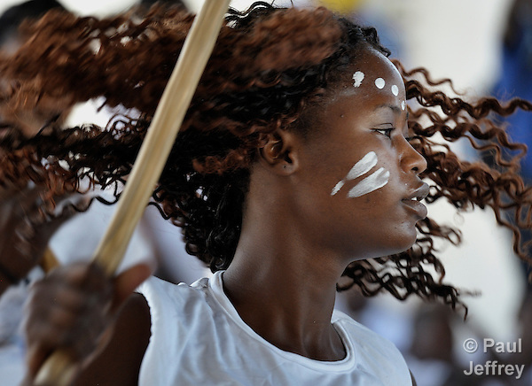 A girl participates in a dance program in the Bel Air neighborhood of Port au Prince, Haiti, almost one year after a devastating earthquake. The program is sponsored by Viva Rio, a Brazilian organization carrying out community organizing in Port au Prince with support from members of the ACT Alliance.