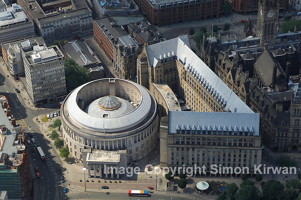 Aerial views of Manchester including Central Library and Beetham Tower Hilton Hotel (Simon Kirwan 2009)